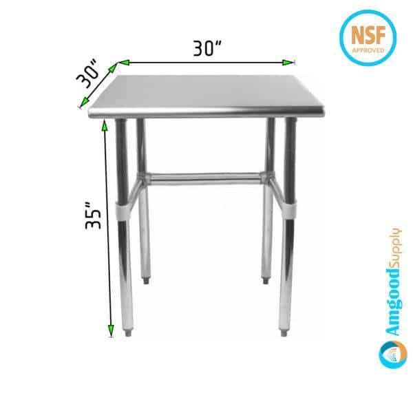 30″ X 30″ Stainless Steel Work Table With Open Base